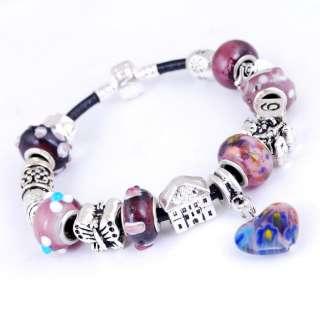 Handicraft Purple Heart Glass Metal Space Bead Bracelet