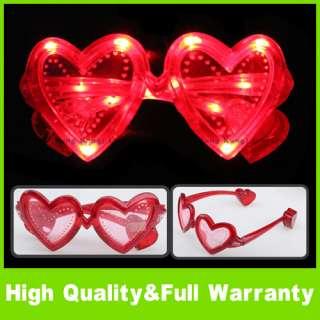 Plastic LED Sunglasses Glow Light Heart Glasses Red New