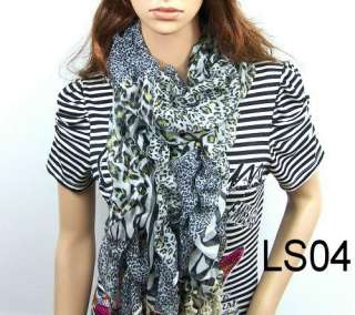 New fashion style leopard girl scarf lace womens carves shawl wrap
