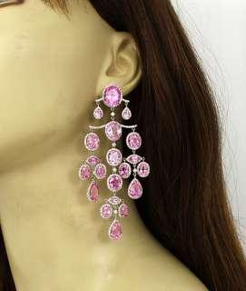 LAVISH 18K GOLD 12 CTS DIAMONDS & SAPPHIRE EARRINGS