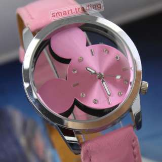 Rare Lovely Pink Hollow Dial Crystal Quartz Wrist Watch Women Lady
