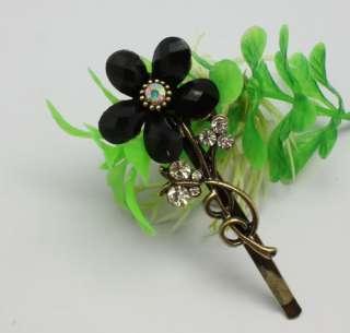 charm black Crystal gemstone sun flower hair barrette clip#NL0569B