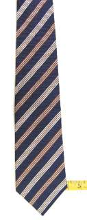 BORRELLI NAPOLI NAVY BLUE BROWN WHITE STRIPE MENS SILK NECK TIE