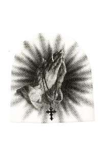 Beanie Hat Prayer Cross Design Graphic Red/Black/White Men Women