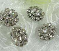 Sparkling Clear Crystal/Rhinestone Silver Buttons N30