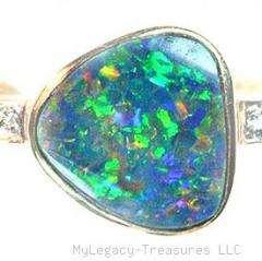 black opal diamonds 14K gold ring Australian cocktail engagement love