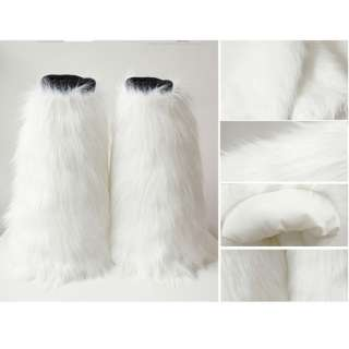 Women lower Leg warmers Boot Sleeve Tube Cover Faux Furs White