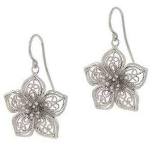 Sterling Silver Filigree Flower Earrings Jewelry