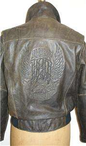 Harley Davidson Leather Jacket Vintage Stargazer Distressed Brown Old