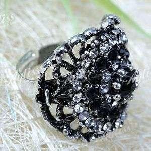 1PC Mix Black & White Rhinestone Evils Eye Bead Adjustable Finger