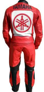 2Pc Red Yamaha Leather Suit Riding Motorcycle Suit New