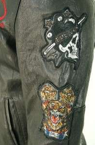NEW ED HARDY CHRISTIAN AUDIGIER MOTORCYCLE BIKER MENS BLACK LEATHER