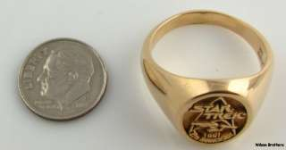 1991 STAR TREK 25th Anniversary Signet Ring 14k Gold Solid Back Band