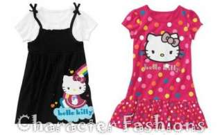 HELLO KITTY DRESS Size 12 18 24 Months 3T 4T 5T Shirt BLACK PINK