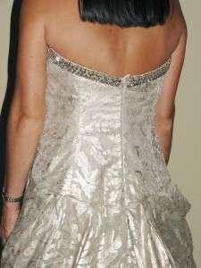 CAROLINA HERRERA Ivory Beaded Neck Ball Gown Dress 8