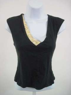 LAUREN MOFFATT Black Cotton Sleeveless Shirt Top Size M