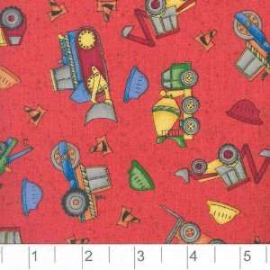 45 Wide Movers and Shakers Trucks & Hard Hats Red Fabric