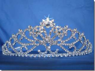 Bridal Wedding Crown Veil Pageant Homecoming Prom Pearl Crystal Tiara
