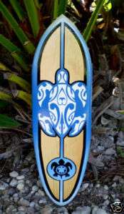 Tribal Blue Honu Turtle Surfboard Wall Art Island Decor