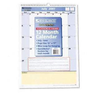 Monthly Wall Calendar, 12 Month July June, 12 x 17