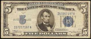 1934 A $5 DOLLAR BILL SILVER CERTIFICATE BLUE SEAL NOTE Fr 1651 F VF