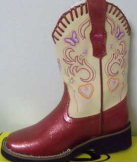 Roper Kids Western Boots  Fushia/Creme (Style#9 18 1801 914 PI) Faux