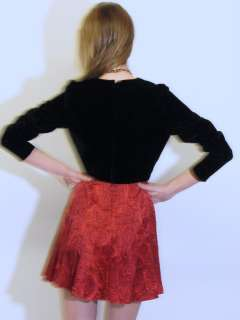 80S BLACK VELVET RED SILK PAISLEY PLEATED valentines MINI DRESS