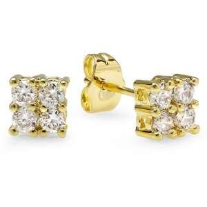 18k Yellow Gold Plated Stud Earrings 6mm Ice Cube Shaped White Round