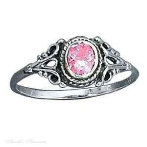 Sterling Silver Pink Ice Ring Shank Size 5 Jewelry