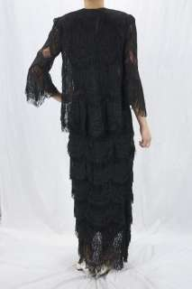NWT Damianou Black Sparkle Pointelle Fringe 1920 Full Length Dress