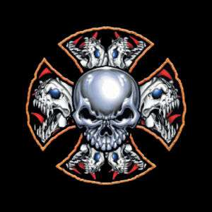 Biker logo Skull Maltese Cross Choppers T Shirt