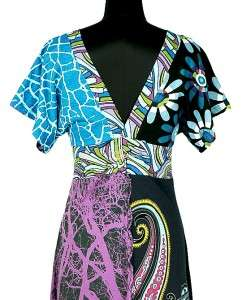 NEW $260 Desigual Printed Kimono Cotton Long Maxi Full Length Dress