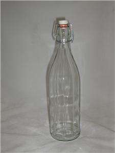 Clear Glass Wine Bottle With Bail & Ceramic Lid w/ Seal