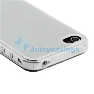 WHITE CASE+CAR+WALL CHARGER+PRIVACY FILM for iPhone 4 4S 4G 4GS G