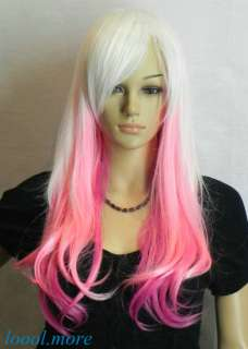 New White + Pink Mix Long Straight Cosplay women Wig + Hairnet #HN33