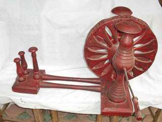 ANTIQUE CARVED KAREN HILL TRIBE WOODEN COTTON SPINNING WHEEL