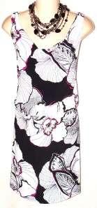 White House Black Market Black Pink Floral Print Dress XS NWT