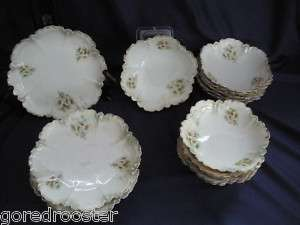 Antique Limoge Ice Cream Set White Flowers w/Green&Gilt