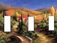 Tuscan scene TRIPLE LIGHT SWITCH PLATE COVER home DECOR