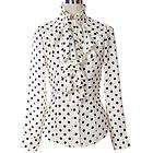 New Womens Ruffle Front high neck polka dot Print Top Shirt Blouse S