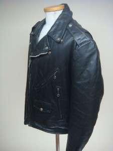 VINTAGE 70 LESCO JET BLACK MOTORCYCLE LEATHER JACKET SZ 44