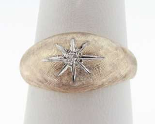 Estate Genuine Diamond Yellow Gold Star 9mm Dome Ring