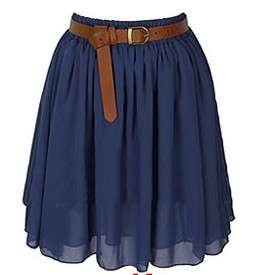Girls Double Layered Chiffon Knee Length Short full Skirt high quality