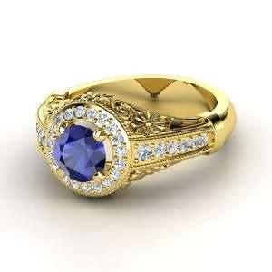 Primrose Ring, Round Sapphire 14K Yellow Gold Ring with