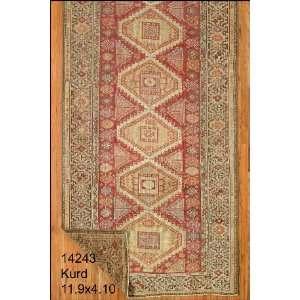 4x11 Hand Knotted Kurd Kurdistan Rug   410x119: Home