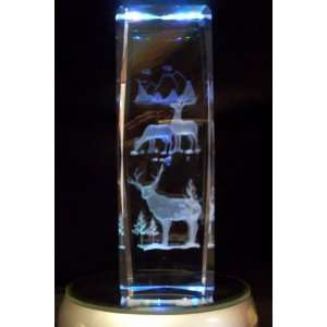 Laser Etched Crystal Deer 6 Inches Tall