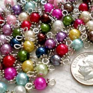Handcrafted Glass Pearl Beads Links w/Silver Wire & Daisy ~Jewelry