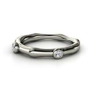 Bamboo Two Stone Ring, 14K White Gold Ring with Diamond Jewelry
