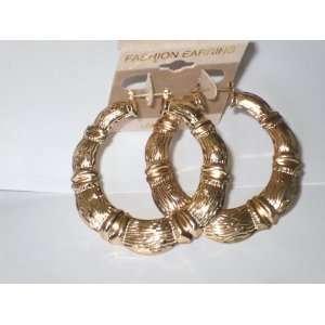 com Big Gold Plated Wide Classic Puff Bamboo Hoop Earrings 2 .5 Big