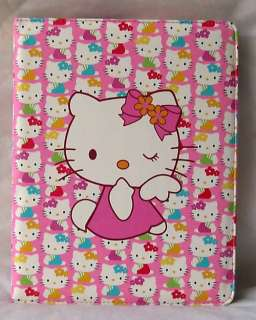 Hello Kitty leather case cover stand iPad2 pink cartoon 4 accessory